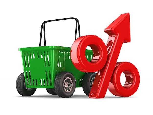 Cesta de compra vazia verde e por cento em fundo branco. ilustração 3d isolada
