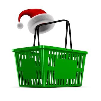 Cesta de compra vazia verde no espaço em branco. ilustração 3d isolada