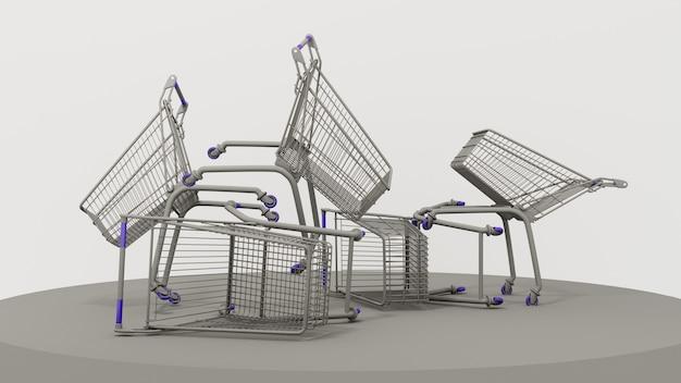 Cesta de compras de metal cinza flutuante