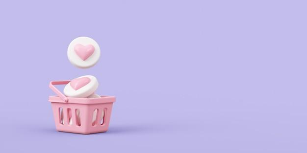 Cesta de compras vazia com corações