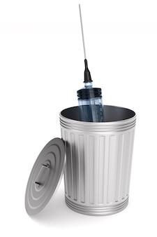 Cesta de lixo e seringa. isolado, renderização 3d