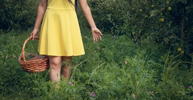 Cesta de mão de mulher no jardim