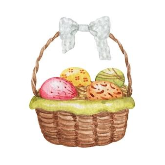 Cesta de ovos de páscoa em aquarela com ovos isolados, cesta com ilustração de ovos, decoração de páscoa
