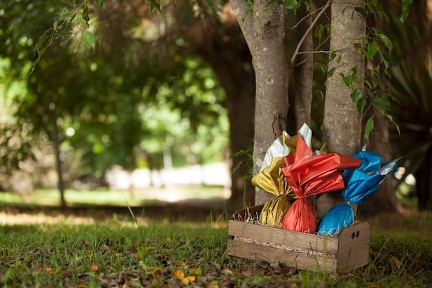 Cesta de ovos de páscoas brasileiras sob uma árvore