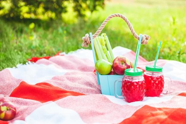 Cesta de piquenique, frutas, suco em pequenas garrafas, maçãs, verão, resto, manta, grama copyspace