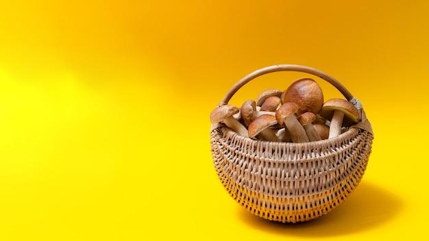 Cesta de vime cheia de boletus edulis isolada em fundo amarelo. cesta de cogumelos comestíveis com espaço para texto. ninguém