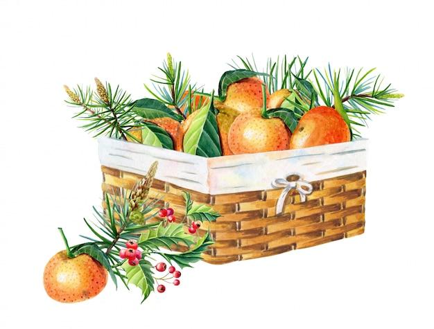 Cesta de vime com tangerinas. ilustração de feliz natal e feliz ano novo.