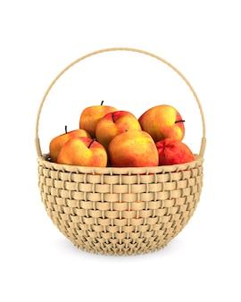 Cesta de vime de madeira e maçãs no espaço em branco. ilustração 3d isolada