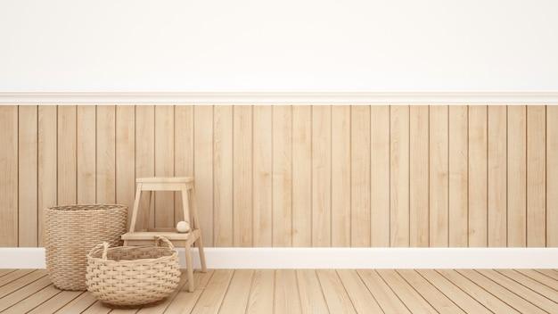 Cesta de vime e fezes na sala para obras de arte - renderização em 3d