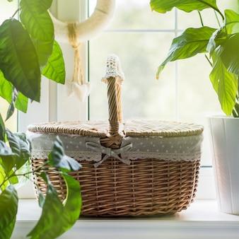 Cesta de vime vintage no peitoril da janela com plantas verdes
