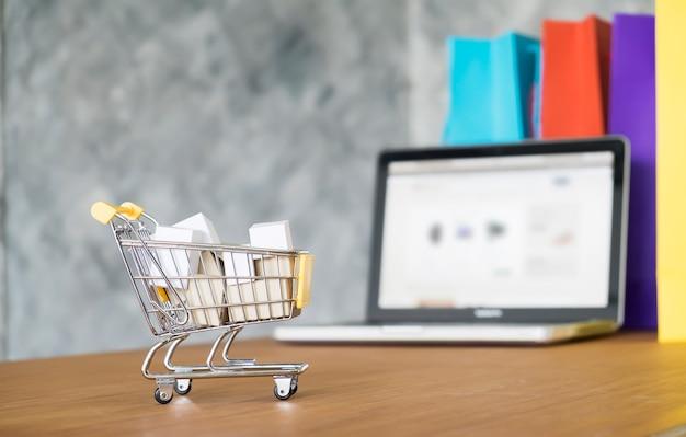 Cesta eletrônica caixa de compras eletrônicas