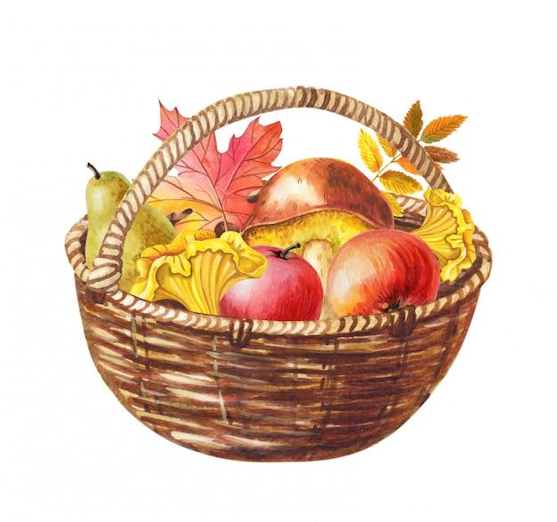 Cesta em aquarela de cogumelos, maçãs, pêra e folhas mistas.