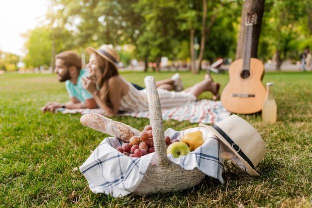 Cesta piquenique, em, foco, par jovem, ligado, a, capim, parque, relaxante, com, guitarra