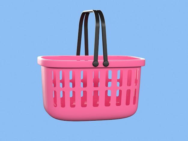 Cesta rosa compras conceito de negócio 3d render