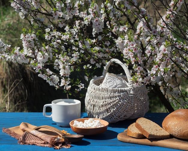 Cesta, um copo de leite, queijo cottage e pão em uma mesa de placas azuis no fundo de um arbusto florido