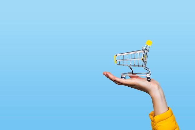 Cesto de compras nas mãos femininas em um azul. conceito de compra, compras, compras online
