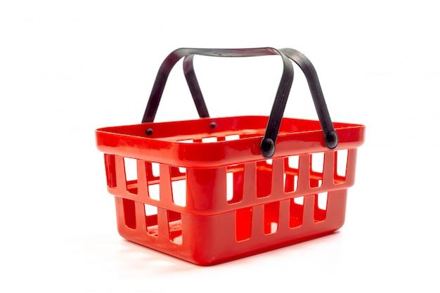 Cesto de compras vazio isolado no branco