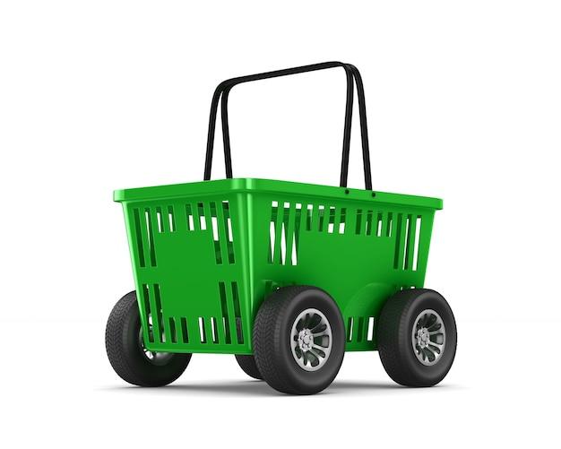 Cesto de compras vazio verde com rodas em fundo branco. ilustração 3d isolada