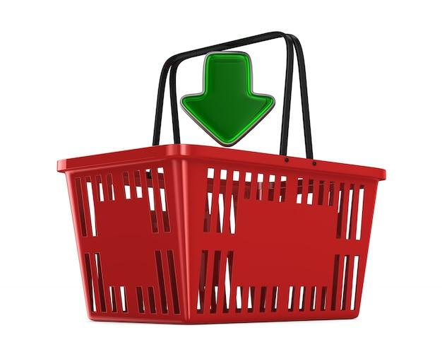 Cesto de compras vazio vermelho no espaço em branco