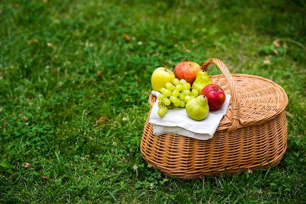 Cesto de piquenique alto ângulo com frutas