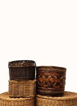 Cestos de palheta de vime artesanal de vime para armazenamento doméstico