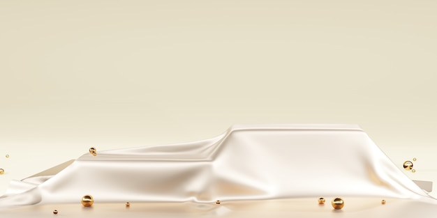 Cetim brilhante elegantemente colocado em um pódio ou prateleira de pódio vazia conceito de luxo cenário da galeria