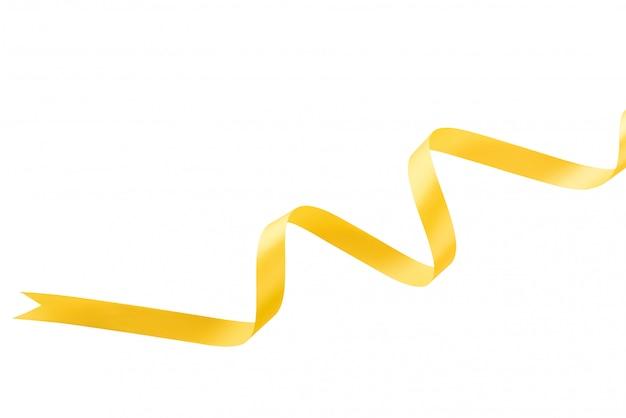 Cetim festivo brilhante ondulado ouro fita amarela sobre fundo branco