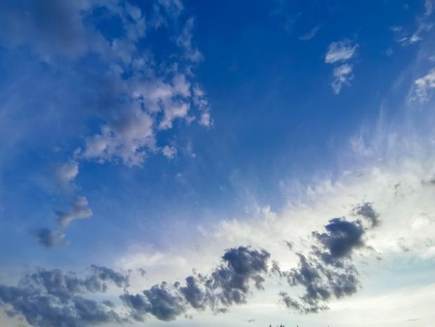 Céu azul brilhante com nuvens brancas leves emplumadas.