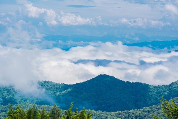 Céu azul com nuvem, vista da montanha