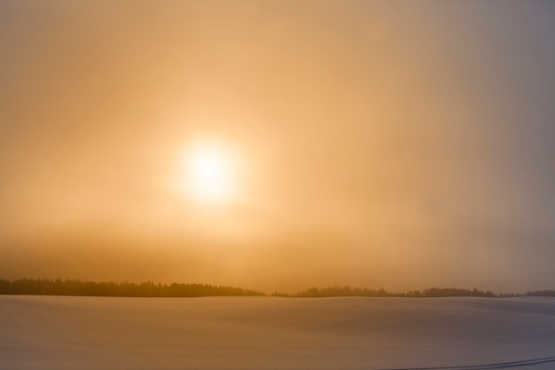 Céu colorido durante o pôr do sol ou nascer do sol no inverno, campo coberto de neve e nevoeiro