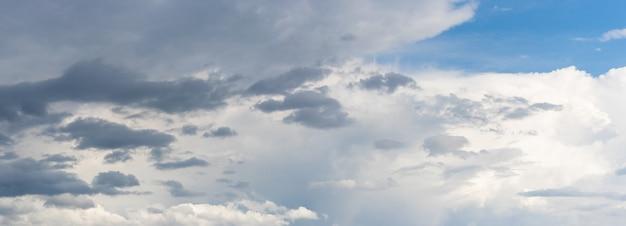 Céu com nuvens escuras e claras de diferentes tamanhos, clima variável