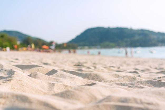 Céu de areia do mar no verão. copie o espaço, close-up