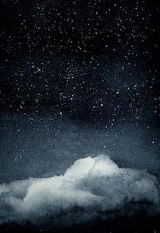 Céu de noite estrelada com fundo de pintura em aquarela de nuvem. mão desenhada no papel com ilustração de textura.