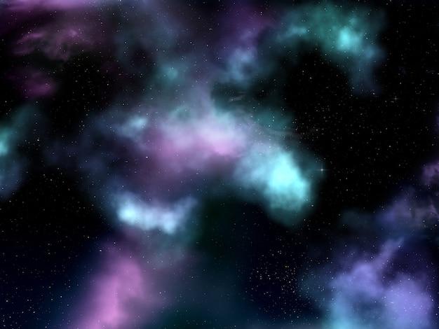 Céu do espaço 3d com nebulosa e estrelas