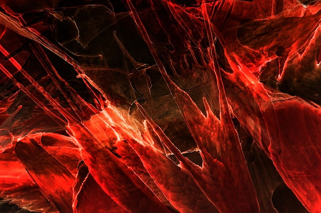 Céu exoplaneta abstrato do oceano vermelho, fundo de tinta de álcool, explosão de lava, manchas e borrões de cor escarlate, materiais de impressão de papel de parede de acrílico