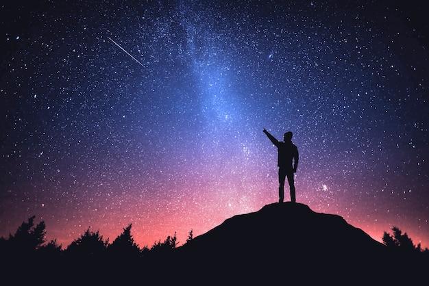 Céu noturno com estrelas e a silhueta de um homem em pé