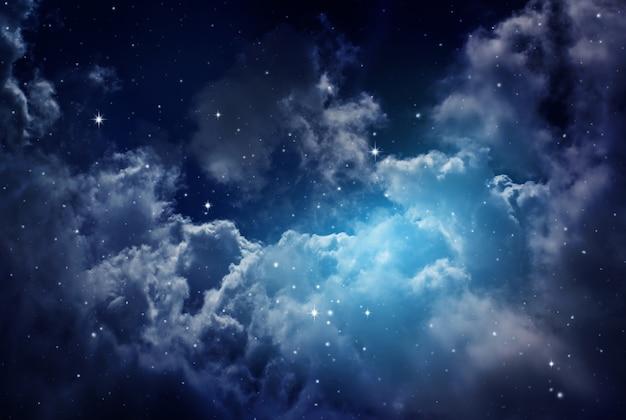 Céu noturno com estrelas.