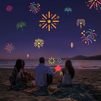 Céu noturno cristalino com filtro de amigos e fogos de artifício