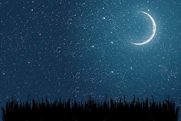 Céu noturno de fundo com estrelas e elementos da lua