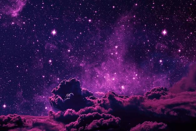 Céu noturno de fundos com estrelas, lua e nuvens. cor de plástico rosa. elementos desta imagem fornecidos pela nasa