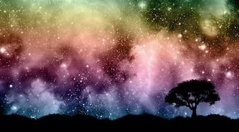 Céu noturno de Starfield com silhuetas de árvore