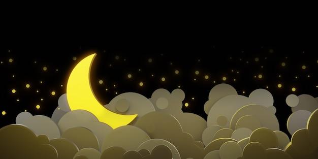 Céu noturno e nuvens, lua cheia e estrelas no céu estilo de corte de papel ilustração 3d