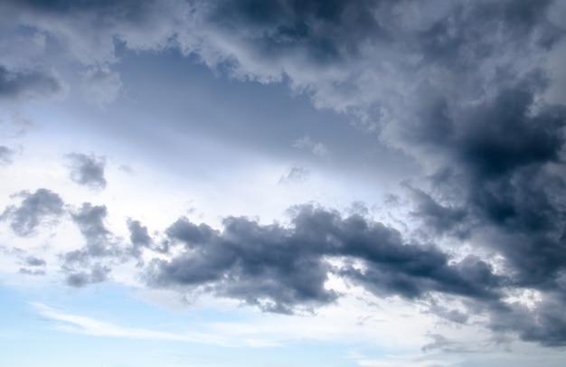 Céu nublado com nuvens de chuva cobriu o céu