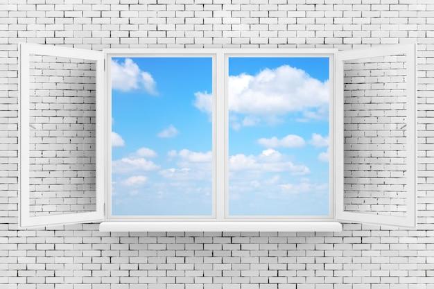 Céu, visto através da janela aberta branca na parede de tijolo closeup extrema. renderização 3d.