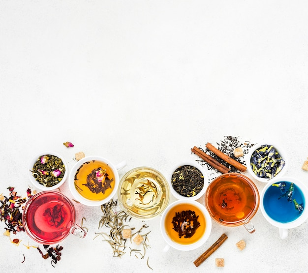 Chá aromático com espaço para cópia