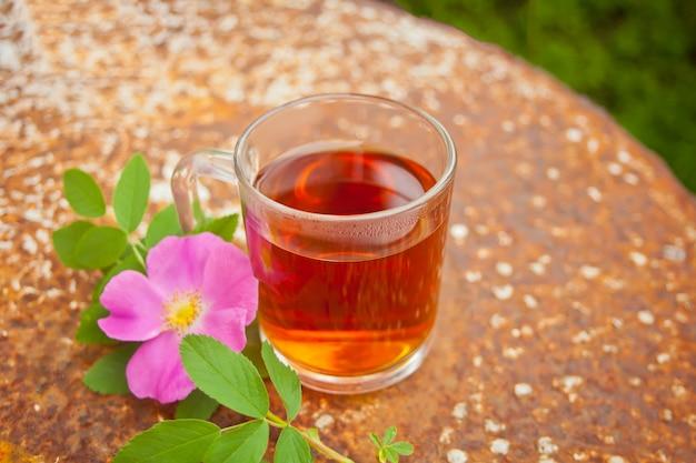 Chá com flores de rosa mosqueta cão-rosa no enferrujado