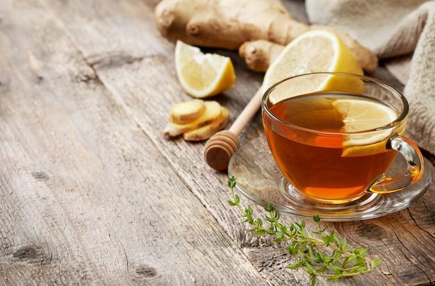 Chá com gengibre e limão Foto Premium