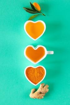 Chá com limão e mel, potenciadores de imunidade e remédios para resfriado, vista de cima.