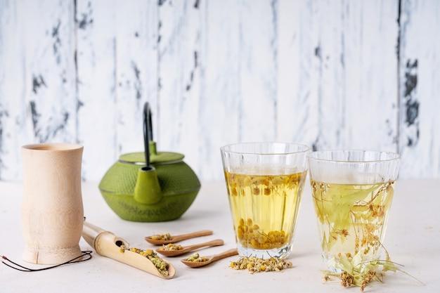 Chá de camomila e tília à base de ervas