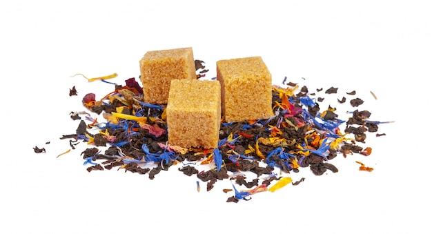 Chá de ceilão preto e verde com flores secas